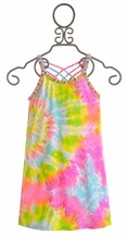 Flowers by Zoe Tie Dye Dress with Beaded Neckline (Size MD 10)