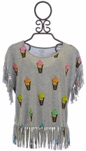 Flowers by Zoe Top with Fringe Ice Cream Print (MD10, LG10/12, XL12/14)
