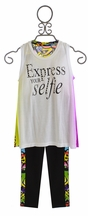 Flowers By Zoe Trendy Tween Top and Capri Outfit Selfie (Size LG 10/12)