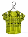Flowers By Zoe Tribal Print Cold Shoulder Top Neon Yellow