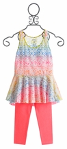 Flowers by Zoe Tunic with Capri for Tweens (4, 5, MD 10, LG 10/12)