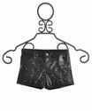 Flowers by Zoe Tween Black Pleather Shorts with Studs (Size LG 10/12)