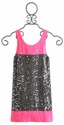 Flowers By Zoe Tween Charcoal and Pink Sequin Dress
