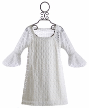 Flowers by Zoe Tween Circle Lace Dress in White (Size XL 14)