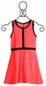 Flowers By Zoe Tween Girls Dress in Coral with Black Sequin Trim