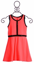 Flowers By Zoe Tween Girls Dress in Coral with Black Sequin Trim (Size SM 7/8)
