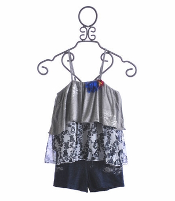 Flowers By Zoe Tween Layered Tank and Shorts Set Silver