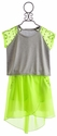 Flowers By Zoe Tween Neon Yellow and Grey Skirt Set