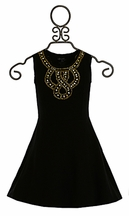 Flowers by Zoe Tween Party Dress in Black and Gold (Size MD 10)