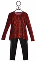 Flowers by Zoe Tween Red Top in Snakeskin with Leggings