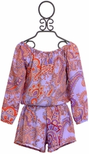 Flowers By Zoe Tween Romper in Purple Paisley