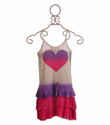 Flowers By Zoe Tween Summer Dress with Heart Screen Print