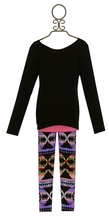 Flowers by Zoe Tween Top in Black with Aztec Legging
