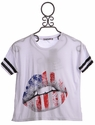 Flowers By Zoe White Summer Top with Flag Graphic