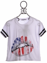 Flowers By Zoe White Summer Top with Flag Graphic (Size LG10/12)
