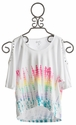 Flowers By Zoe White Top with Pastel Stripes for Tweens