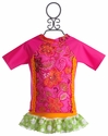 Frankie and Daisy Fuchsia Dot Rash Guard Girls Swimsuit