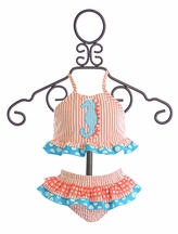 Funtasia Too Girls Tankini in Ruffle Coral and Blue (12Mos,2T,3T,5,6)