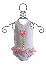 Funtasia Too Seersucker Girls Swimsuit with Flower (3Mos,6Mos,9Mos,5,6)