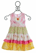 Giggle Moon Girls Party Dress Honeycomb and Blossoms (6Mos,9Mos,12Mos,18Mos)