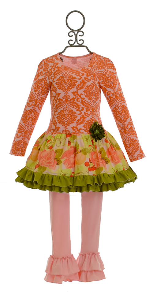 Giggle Moon Harvest Fields Girls Dress With Pink Leggings