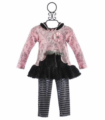 Giggle Moon Silver Bells Dress with Faux Fur and Legging
