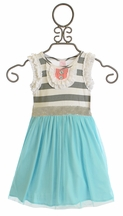 Giggle Moon Singing Praises Olive Dress in Elsa Blue (12Mos,18Mos,24Mos,2T,3T)