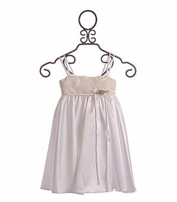 Girls Flower Girl Dress White Satin