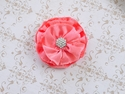 Girls Handmade Peach Flower Clip with Jewel Center