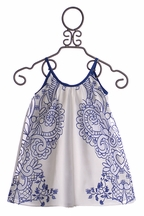 Halabaloo Blue and White Infant and Toddler Dress (Size 12Mos)
