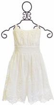Halabaloo Girls Romper Ivory with Embroidery (5,6,6X,7)