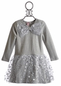 Halabaloo Glitter Dot Girls Long Sleeve Dress with Bow