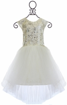 Halabaloo High Low Girls Dress in Silver (Size 7)