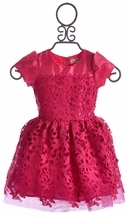 Halabaloo Little Girls Lace Dress Fuchsia Fun (2T & 8)