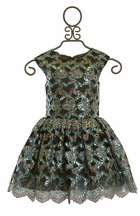 Halabaloo Sequin Butterfly Dress for Girls in Silver