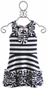Halabaloo Zig Zag Stripe Ruffle Dress for Girls