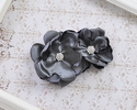 Handmade Grey Satin Flower Clip for Girls