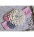Handmade Ivory and Pink Girls Knit Headband