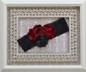 Handmade Rosette Headband in Deep Red and Black