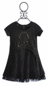 Hannah Banana Black Pleather Girls Dress with Lace
