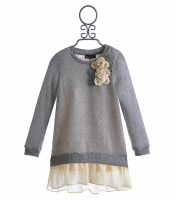Hannah Banana Chiffon Trimmed Tween Sweater Dress