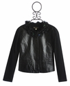 Hannah Banana Faux Leather Jacket with Chiffon Neckline