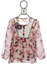 Hannah Banana Flower Tunic for Tweens in Pink (7,10,12,14)