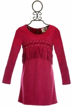 Hannah Banana Fringe Dress for Tweens in Fuchsia