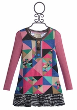 Hannah Banana Girls A-Line Dress in Geometric (4,6,6X)
