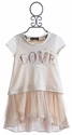 Hannah Banana Girls Ivory Dress with Love Graphic