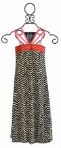 Hannah Banana Girls Maxi Dress in Chevron Print (Size 14)