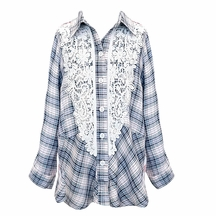 Hannah Banana Girls Plaid Tunic with Lace