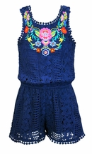 Hannah Banana Girls Romper in Navy