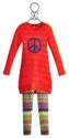 Hannah Banana Girls Sweater Dress with Peace Sign